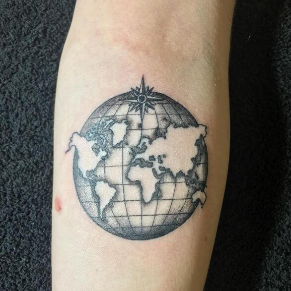 Globe World Map Tattoos