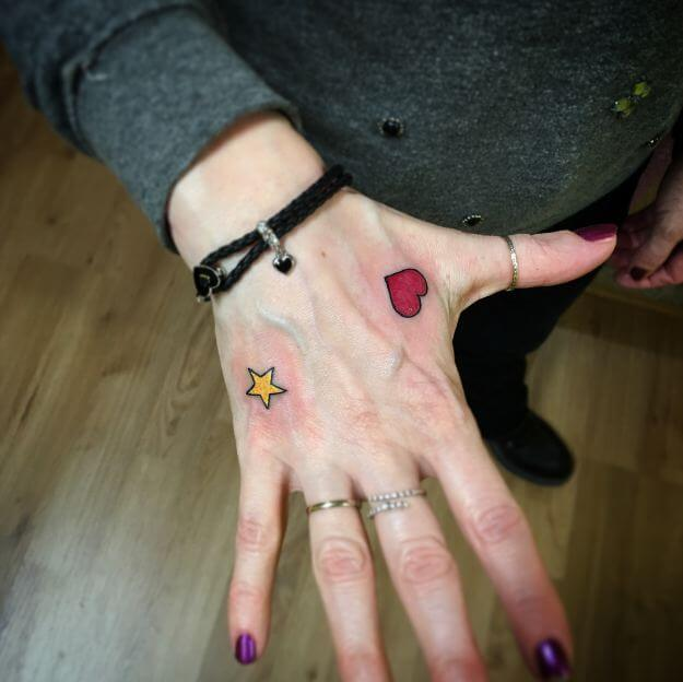 Hearts And Star Tattoo