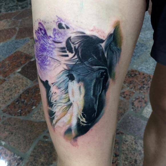 Horse Tattoo On Thigh