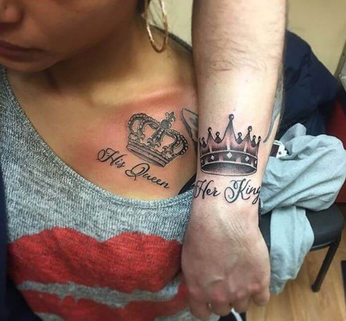 King And Queen Crown Tattoos For Boyfriends