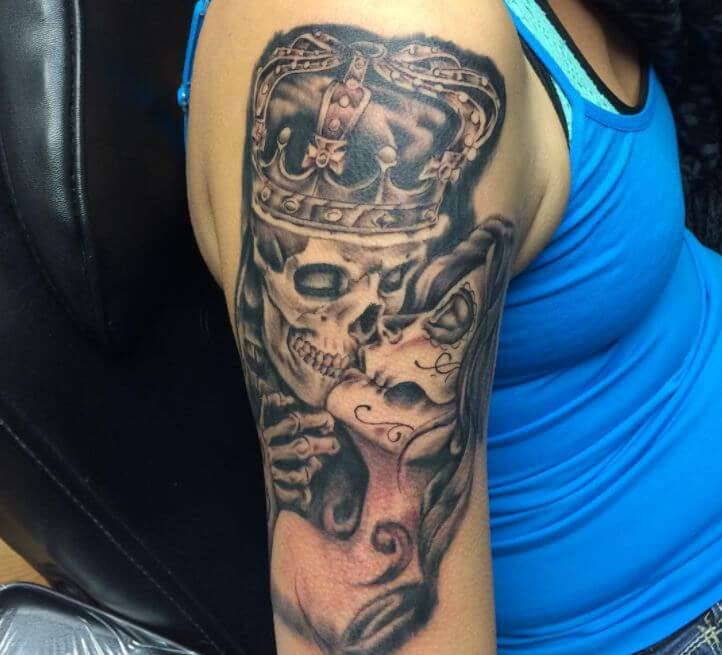 King And Queen Half Sleeve Tattoos