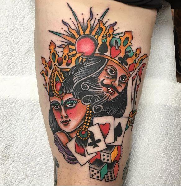 King And Queen Cards Tattoo