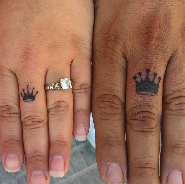 King And Queen Crown Finger Tattoos