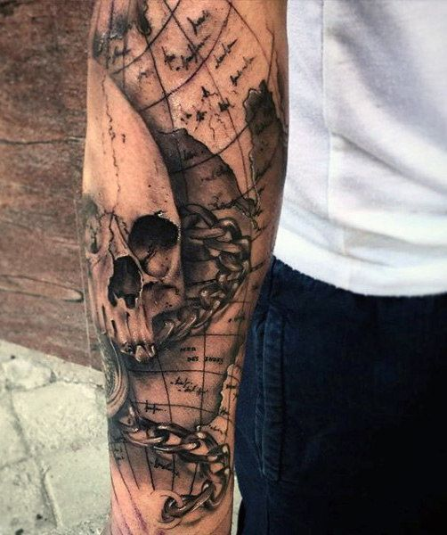 Nautical Pirate Map Tattoos (16)