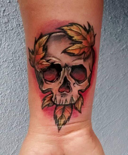 Neo Traditional Skull Tattoo