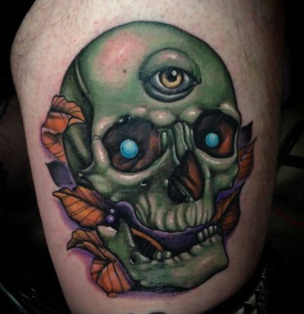 New School Skull Tattoo