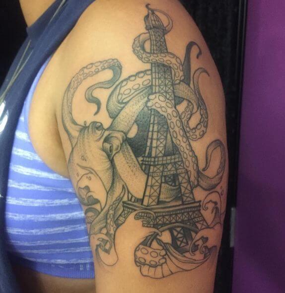 Octopus Tattoos On Half Sleeve