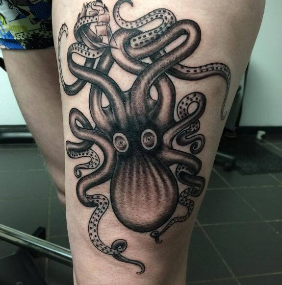 Octopus Tattoos On Thigh For Girls