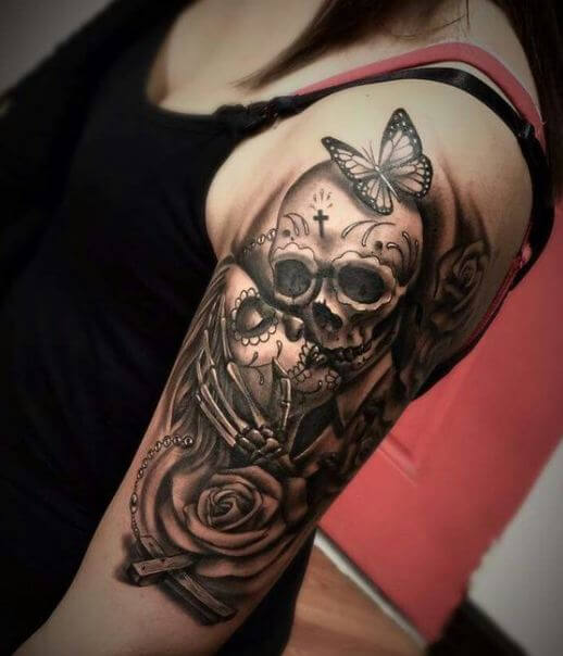 Pin Up Sugar Skull Lady Tattoo