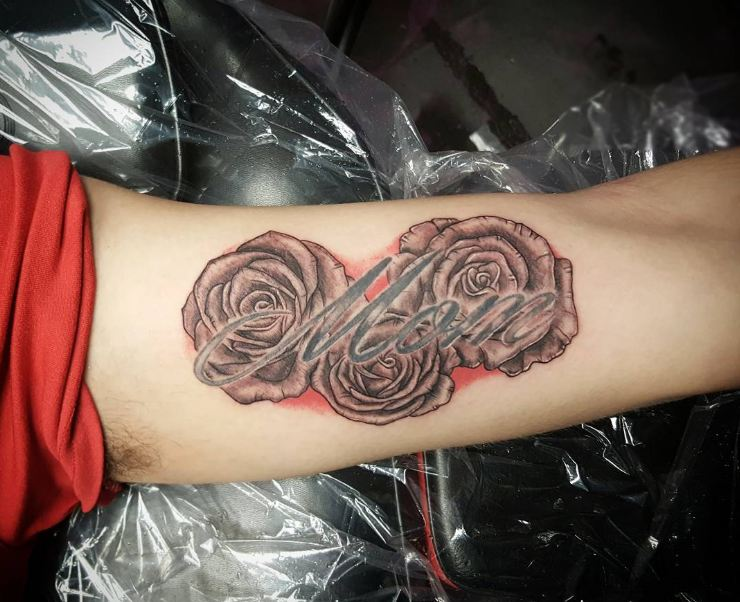 Rose With Mom Tattoos On Inner Biceps
