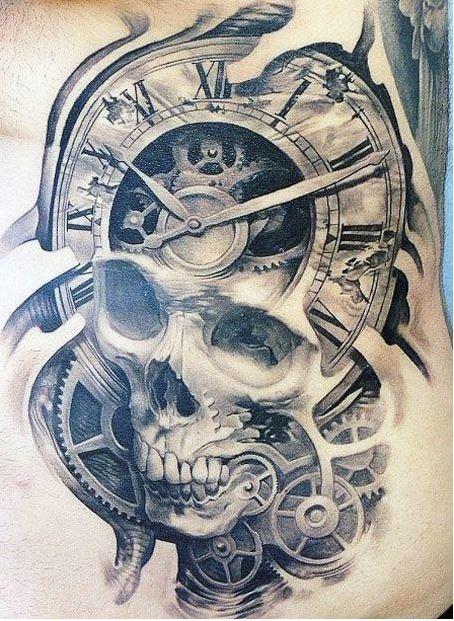Skull Clock Tattoos