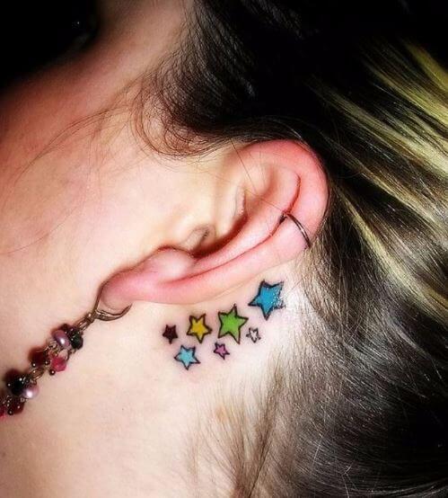 Star Tattoo Behind Ears