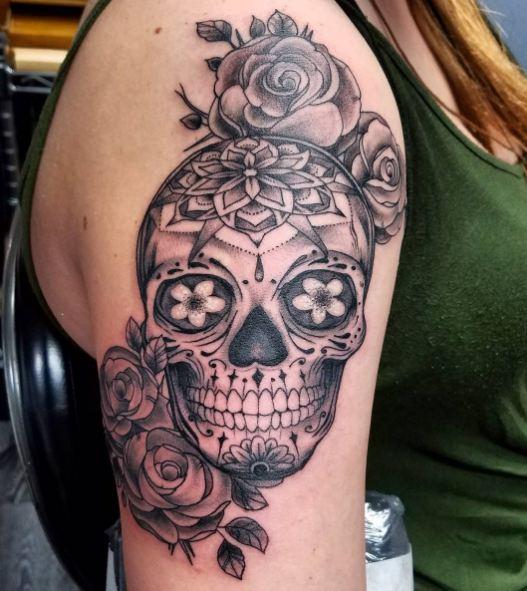 Sugar Skull Feminine Tattoos