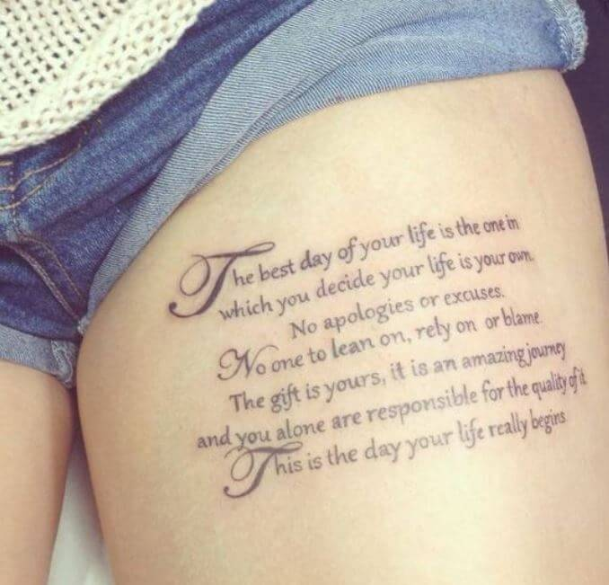 Thigh Quote Tattoos