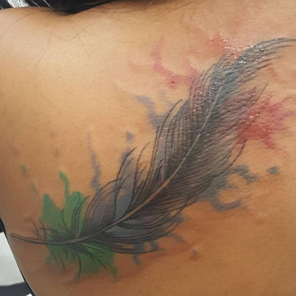 Water Color Feather Tattoos
