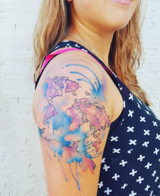 Watercolor Ink World Map Tattoos For Girls