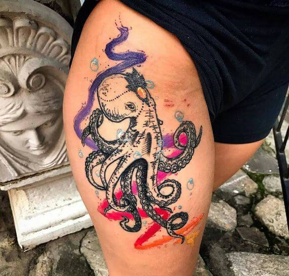 Watercolor Octopus Tattoos