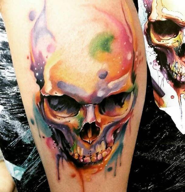 Watercolor Skull Tattoo