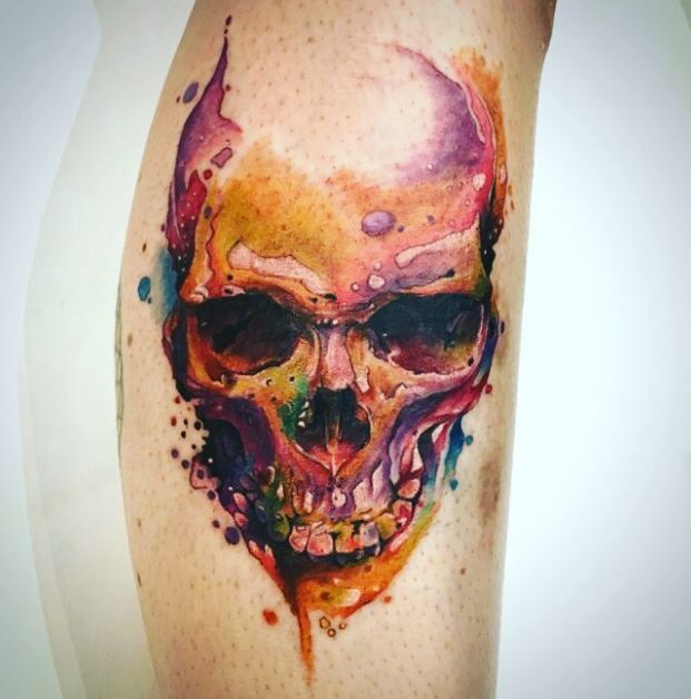 Watercolor Skull Tattoos