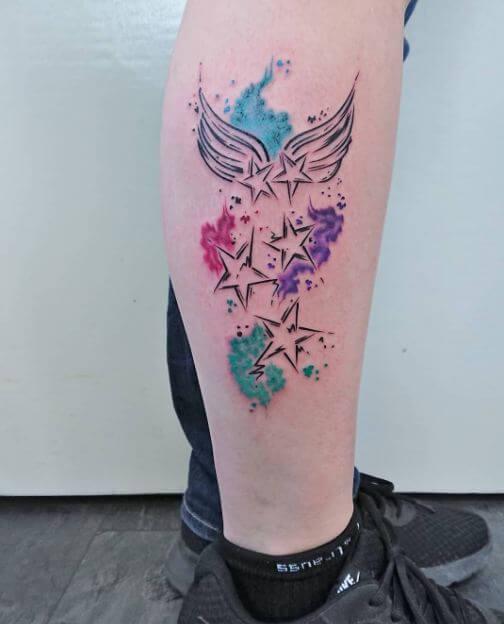 Watercolor Star Tattoo