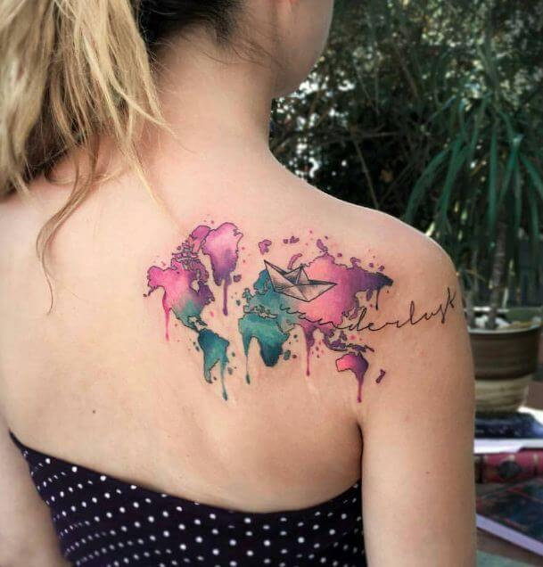 Watercolor World Map Tattoos
