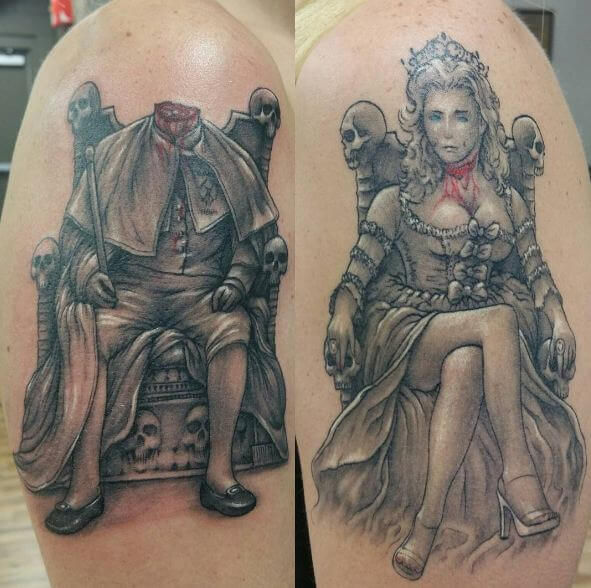Zombie King And Queen Tattoos