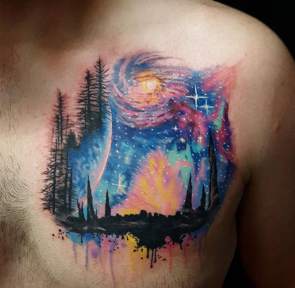 3D Planet Tattoos Design On Chest