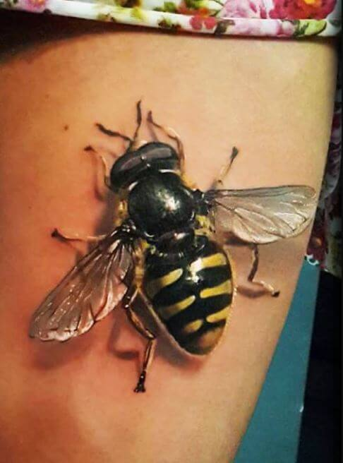 3D Honey Bee Tattoos