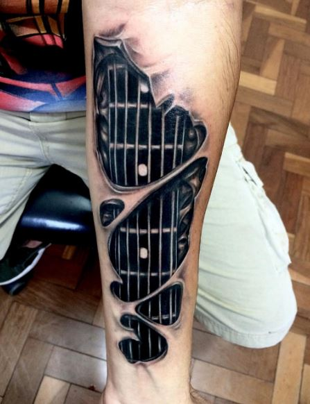 3d Guitar Tattoos