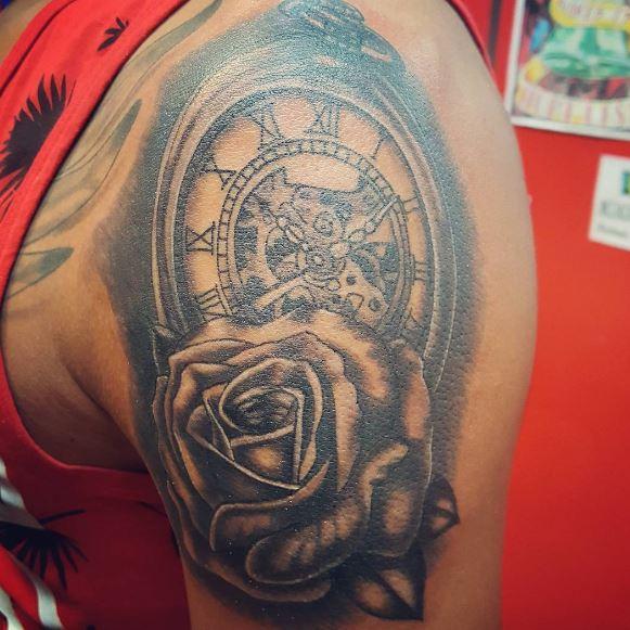Arm Piece Pocket Watch Tattoos Design