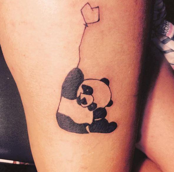 Awesome Panda Tattoos Design On Thigh