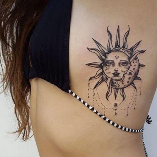 Awesome Sun Tattoos Design On Rib
