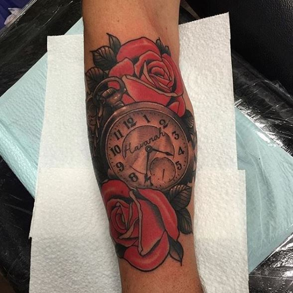 Awesome Watch Tattoos Design With Rose