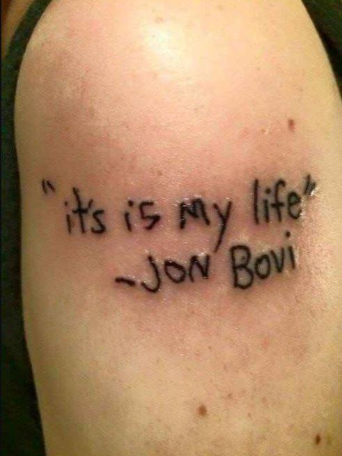 Bad Font Tattoo Design On Bicep
