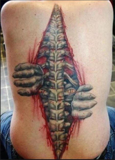 Bad Spine Tattoo Design For Women