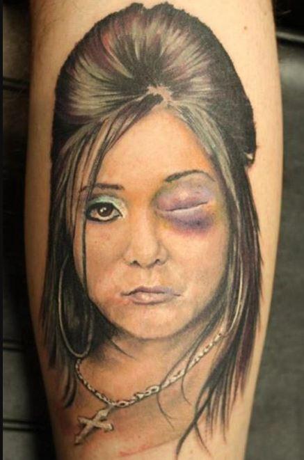 Bad Women Face Tattoos Design On Calf