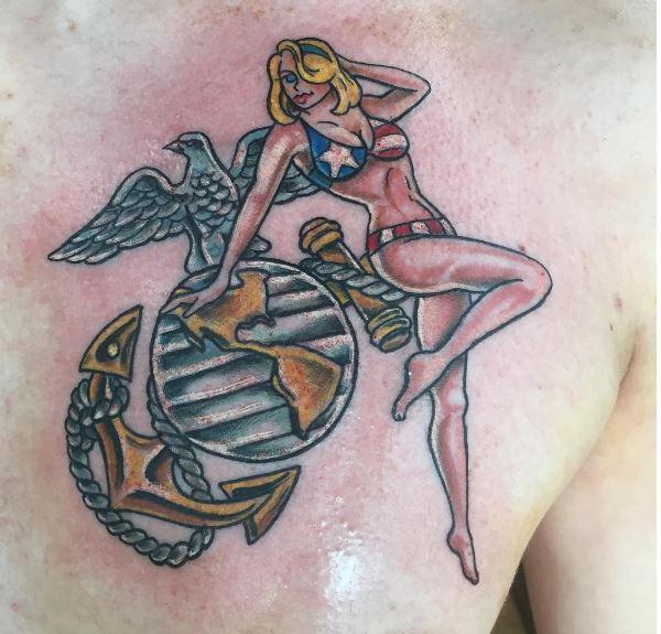 Beautiful Marine Corps Tattoos Design