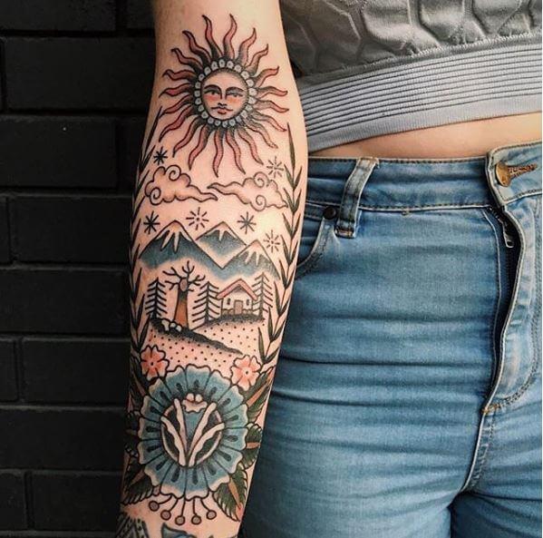 Beautiful Sun Art Tattoos Design For Girls