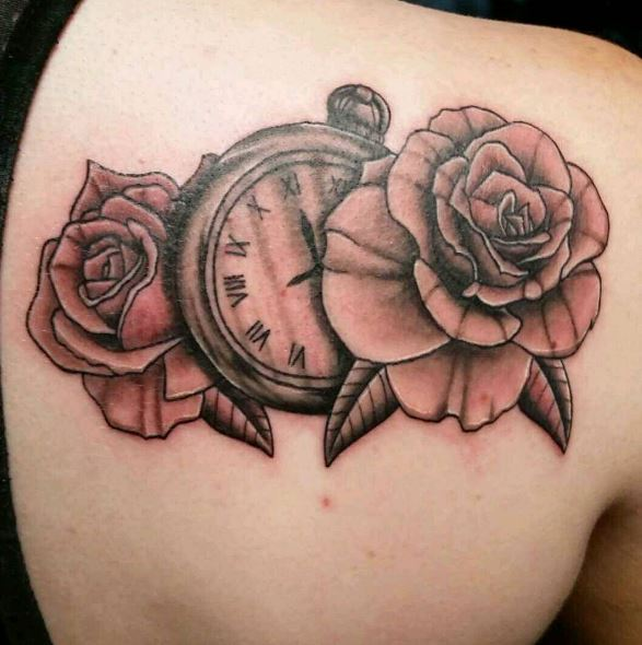 Black And Gray Color Pocket Watch Tattoos Design