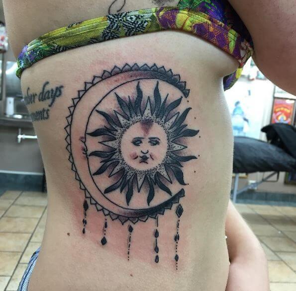 Brillaint Sun Tattoos Design For Girls