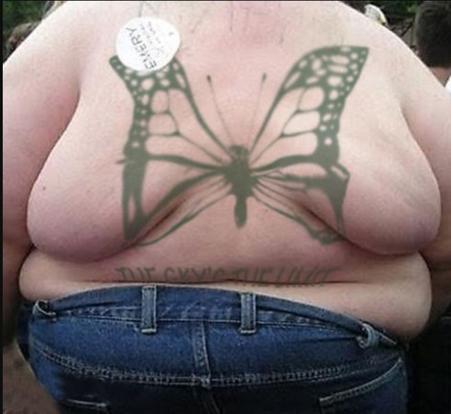 Butterfly Bad Tattoo Design On Back