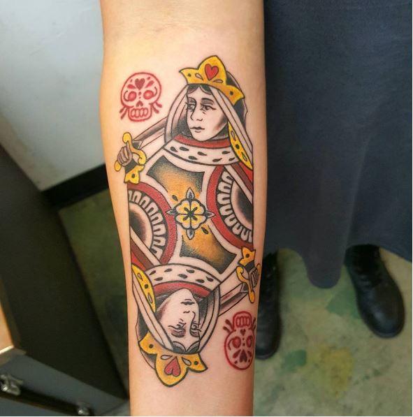 Card Queen Tattoos Design On Legs
