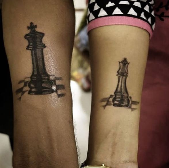 Chess Board And Queen Tattoos Design On Hands