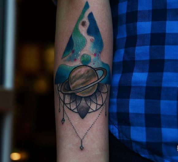 Colored Planet Tattoos Design And Ideas