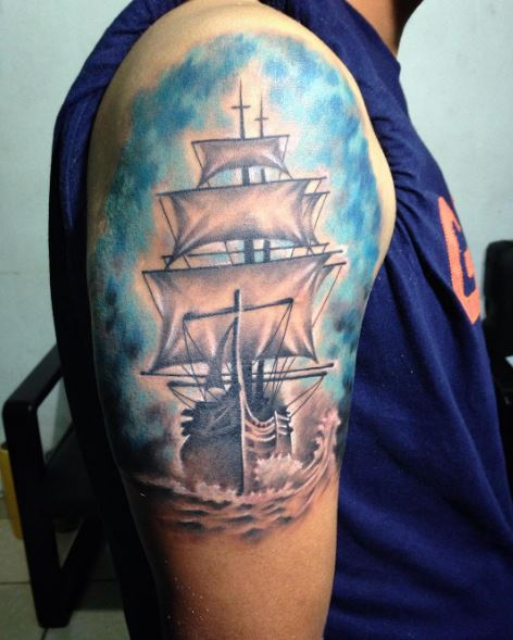 Colored Ship Tattoos Design For Guys