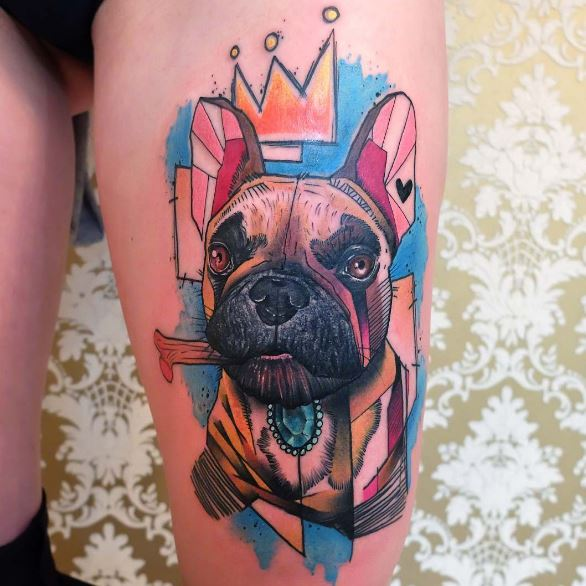Colorful Dog Tattoos Design And Ideas
