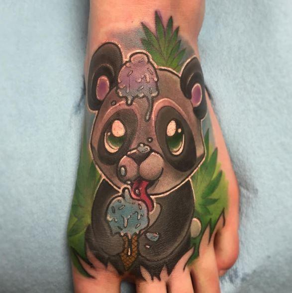 Colorful Panda Baby Tattoos Design On Foot
