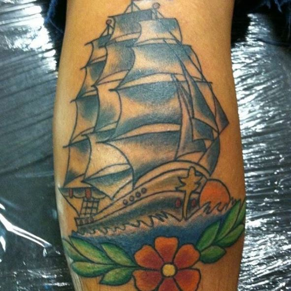 Colorful Ship Tattoos Design And Ideas