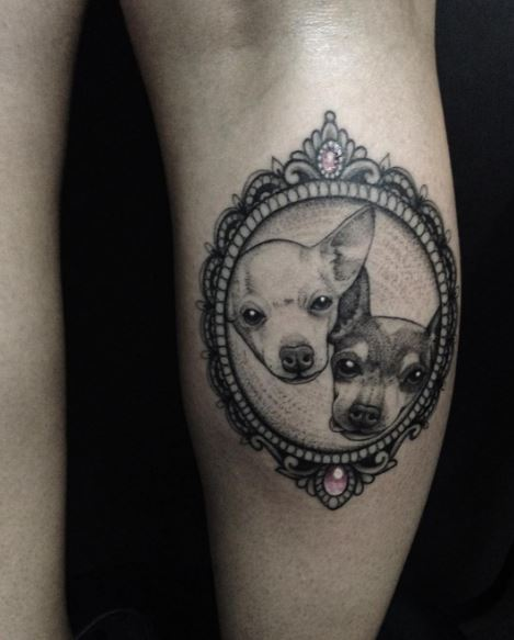 Cute Dog Tattoos Design On Hands