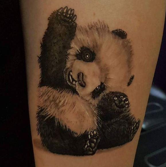 Cute Little Panda Tattoos Design On Hands